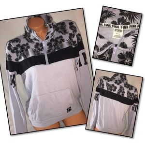 VS PINK Hibiscus Quarter zip Pullover crew MEDIUM